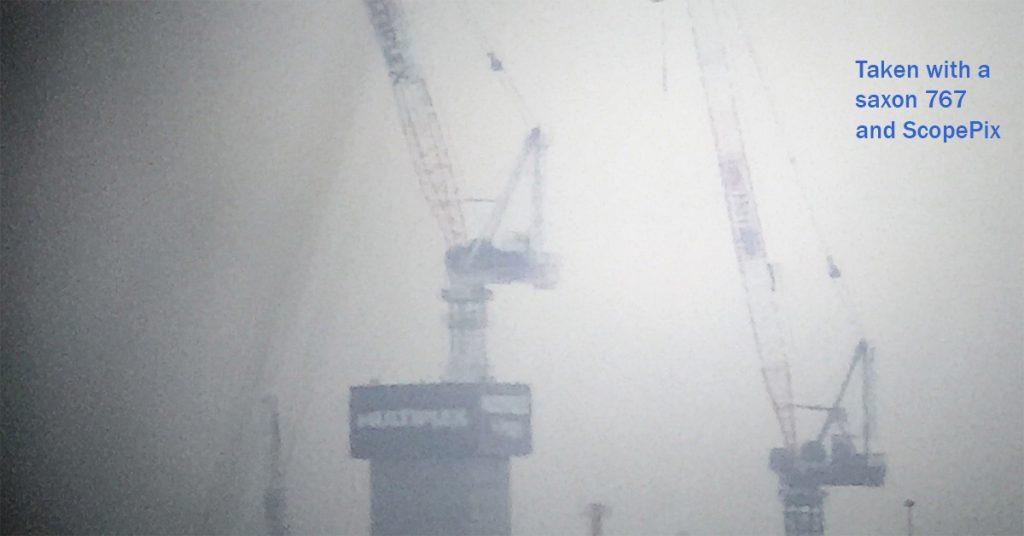 Cranes through a saxon 767 and ScopePix