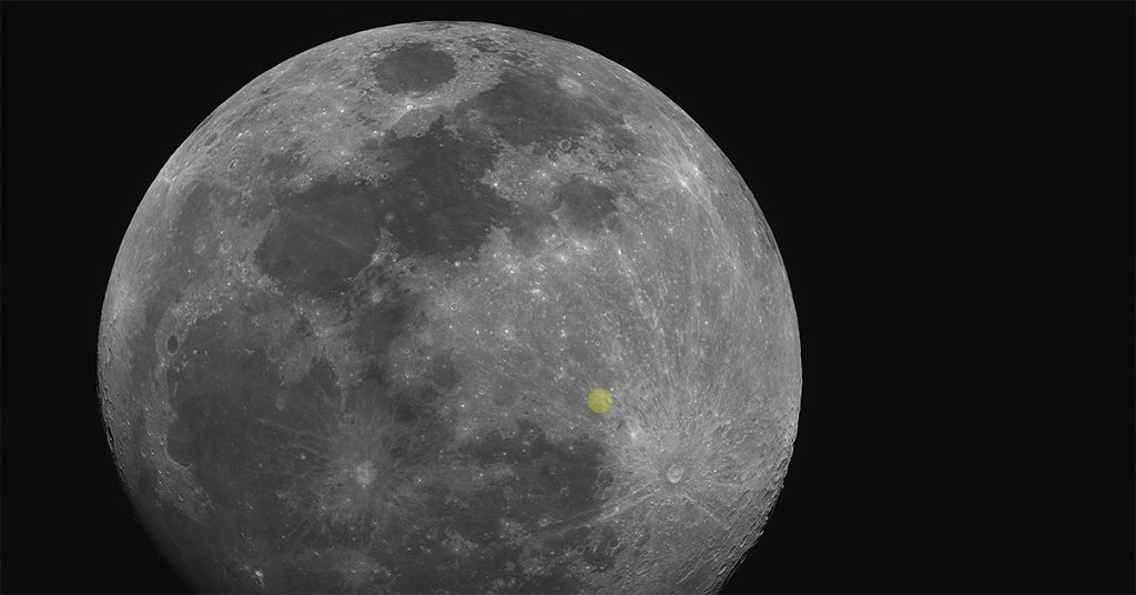 Gibbous moon with location of the Lunar X marked