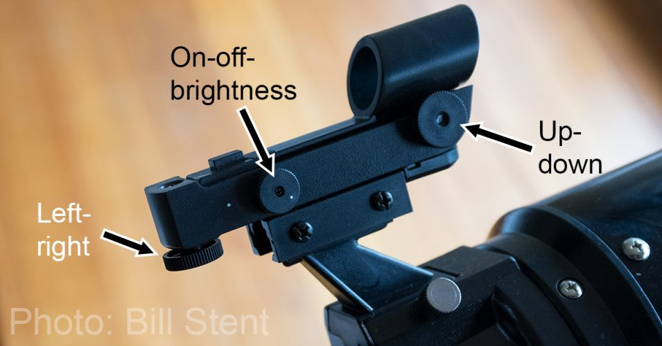 Adjustment knobs on the red-dot finderscope