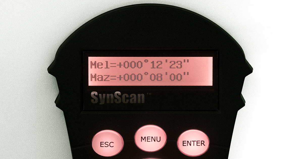SynScan handbox showing polar variances
