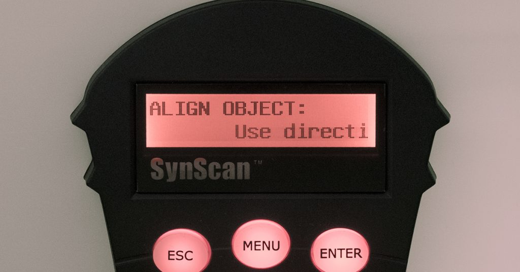 SynScan handbox asking the user to centre a star using the direction keys