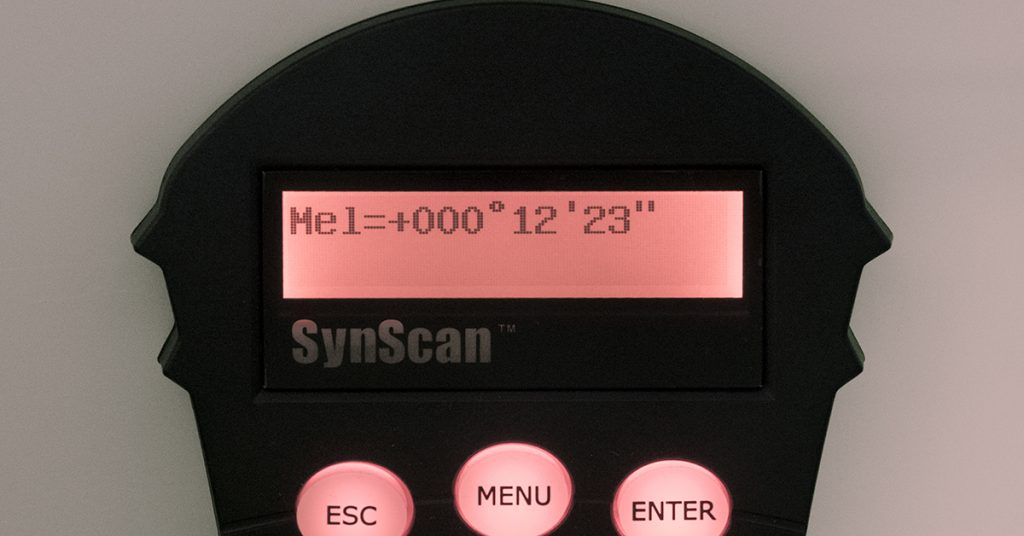 SynScan handbox showing elevation variance