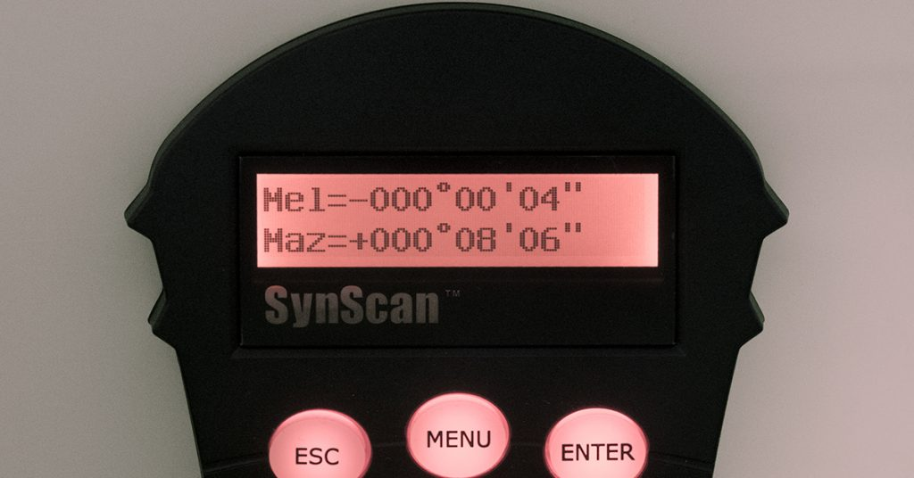 SynScan handbox showing estimated altitude variance