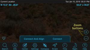 Preparing to do a three-star alignment in the Celestron SkyPortal app