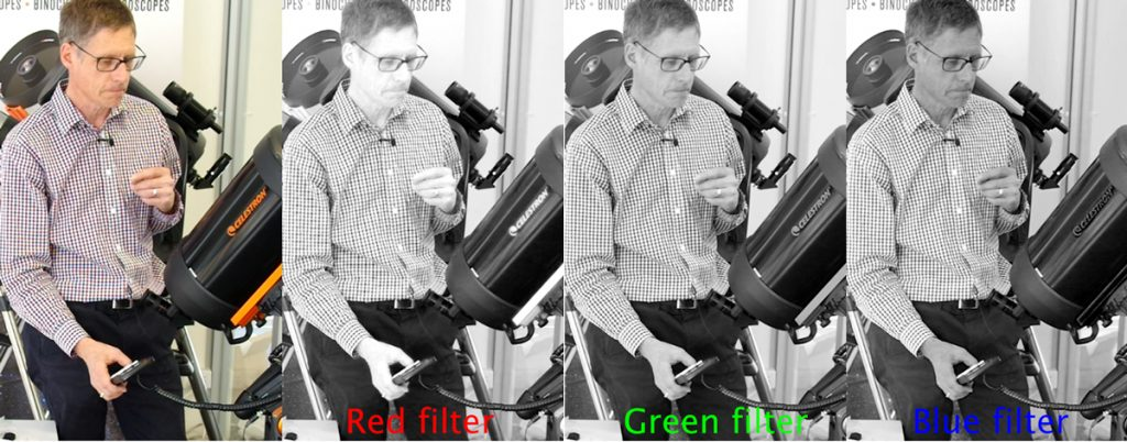 Colour photo on the left, with red, green and blue components to the right.
