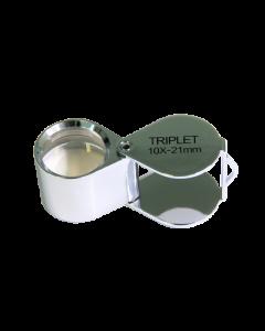 Saxon 10x 21mm Metal Loupe Magnifier - Silver