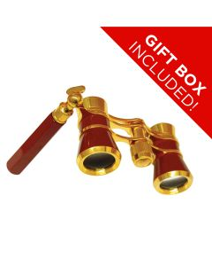 Saxon 3x25 H Red Opera Glasses w Handle