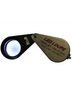 Saxon Metal Loupe 21mm 10x Magnifier w/ Dual LED Light