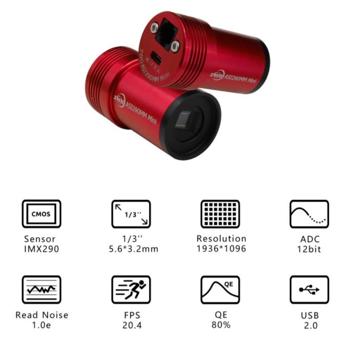 ZWO ASI290MM Mini USB2.0 Mono Guide Camera