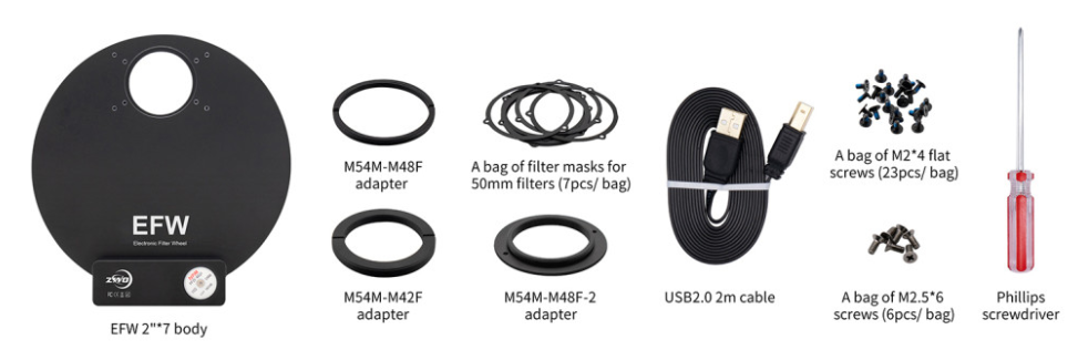 "ZWO 7 Position 2"" Electronic Filter Wheel"